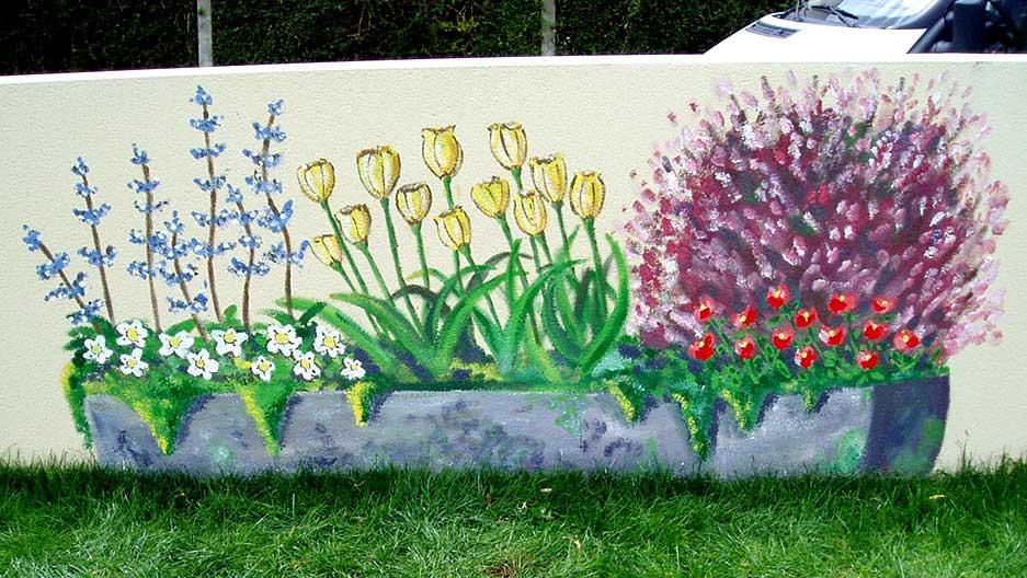 Décors De Terre Plein De Fleurs   Kreadeco   Décoration Intérieure Et  Extérieure  Fresques Murales Et Trompe Lu0027oeil